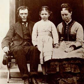 Beatrix Potter age 8 with her parents