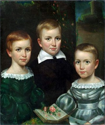 Emily, Austin, and Lavinia Dickinson as children