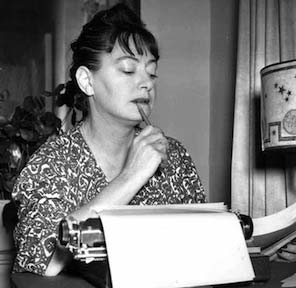 Dorothy Parker at her typewriter