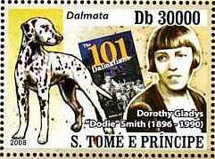 Dodie Smith - author of 101 dalmatians postage stamp