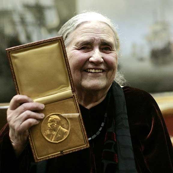 Doris Lessing winning the Nobel prize in literature