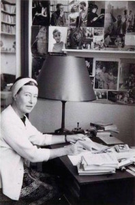 Simone de Beauvoir at her desk