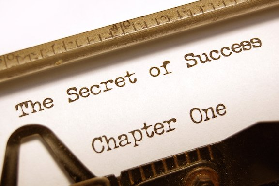 The Secret Of Success with vintage typewriter