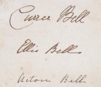 Brontë sisters' signatures as Currer, Ellis and Acton_Bell 1846