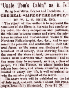 Reaction to Uncle Tom's Cabin, 1852