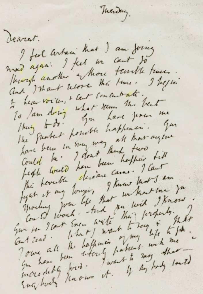 Virginia woolf suicide note 1941