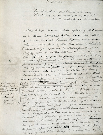 Chapter 1 of Middlemarch in George Eliot's handwriting