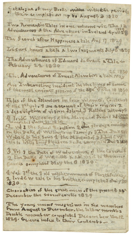 Charlotte bronte's catalog of books