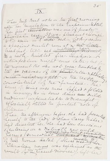 The House of Mirth original manuscript page, ca 1904