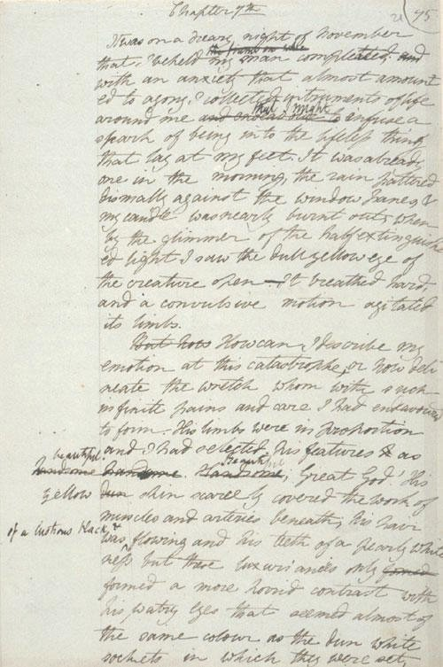 Frankenstein by Mary Shelley - Draft 1817