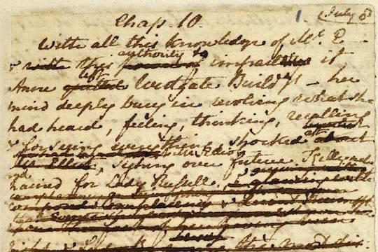 Jane austen Persuasion handwritten manuscript