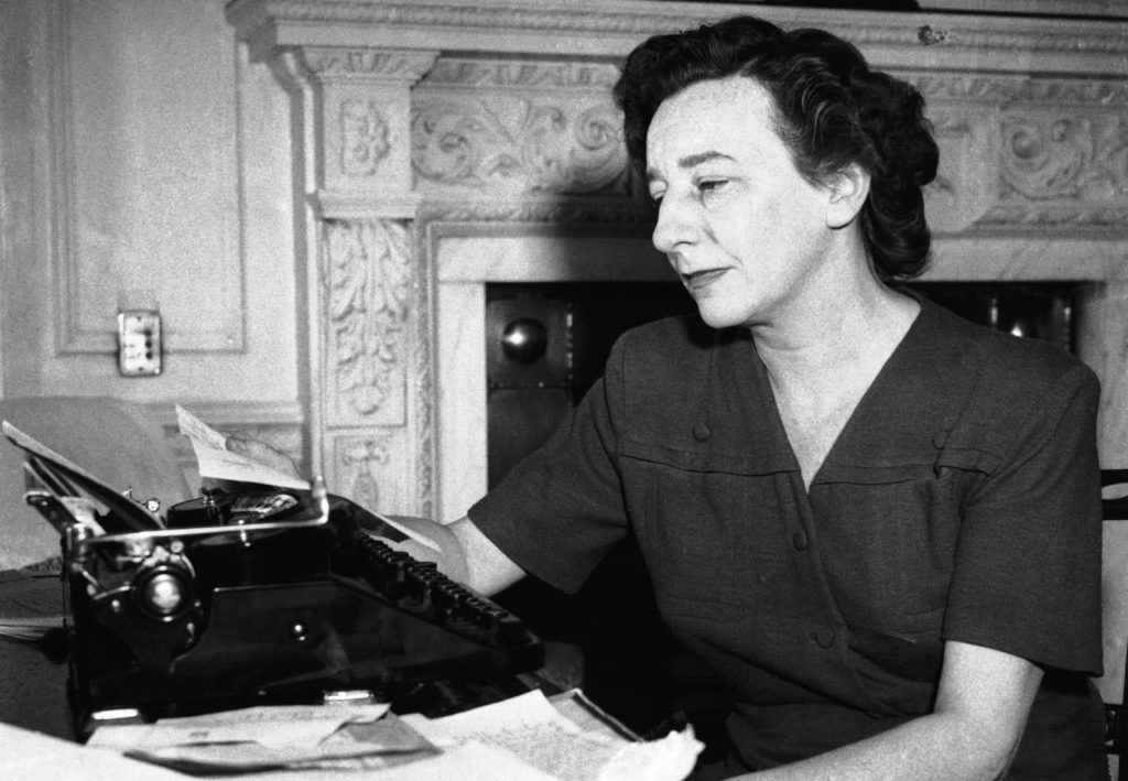 Lillian Hellman at her desk in a London Hotel, 1945