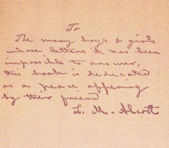 Louisa May Alcott inscription