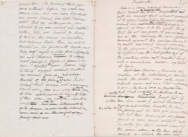 Original manuscript of Frankenstein by Mary Shelley