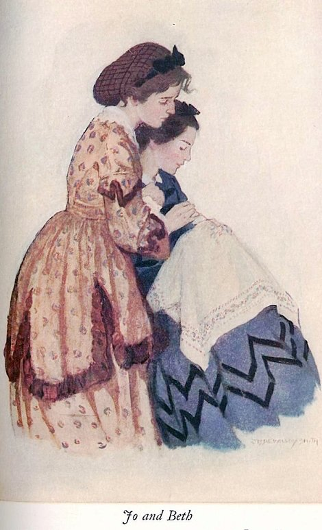 jo and beth illutration from Little women by Jessie Willcox Smith