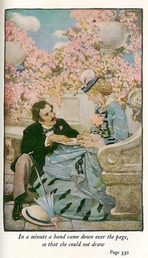 laurie and amy illustration from Little Women by Jessie Willcox Smith