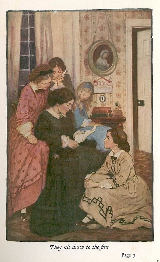 marmee reads a letter illutstration from Little Women by Jessie Willcox Smith
