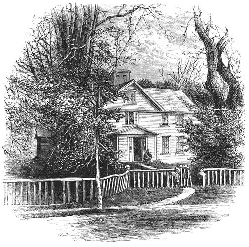 Orchard House, home of the Alcotts — an 1875 engraving