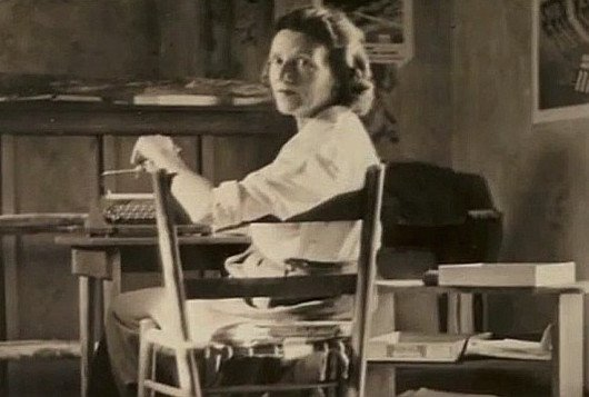 Mary O'Hara at her desk