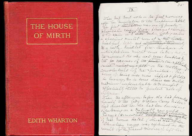 The house of mirth by Edith Wharton 1905 - original cover and manuscript page