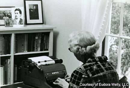 Eudora Welty at her desk
