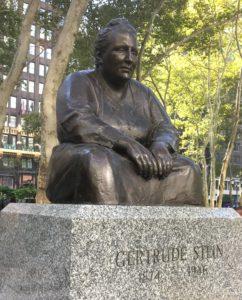 Gertrude Stein statue in Bryant Park, NYC