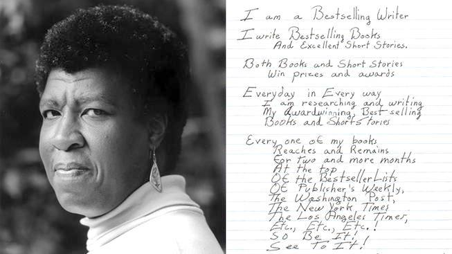Octavia Butler's journal with affirmations