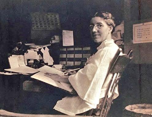 Charlotte Perkins Gilman at her desk