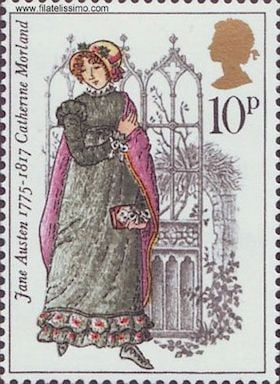 Jane austen Catherine Moreland Northanger Abbey stamp 1975