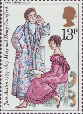 Jane austen Mary and Henry Crawford stamp 1975