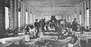 Wounded soldiers in a Union hospital ward