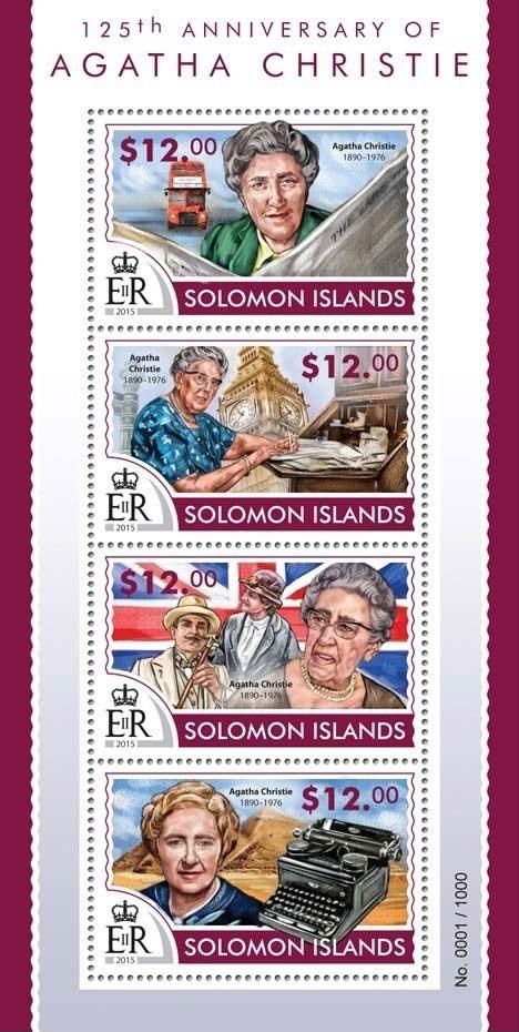 Agatha Christie Solomon Island stamps 2015