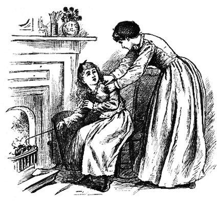 Illustration of Amy burning Jo's book from Little Women by Louisa May Alcott