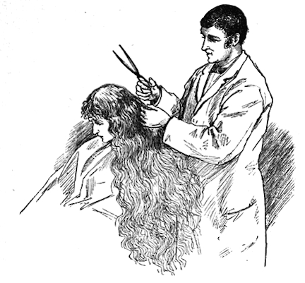 Illustration by Frank T. Merrill of Jo getting her hair from Little Women by Louisa May Alcott
