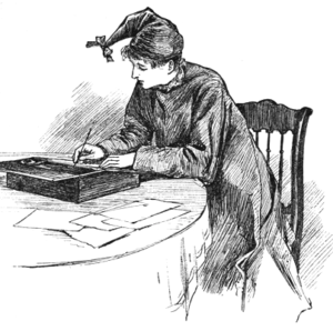 Illustration by Frank T. Merrill of Jo in her writing cap from Little Women by Louisa May Alcott