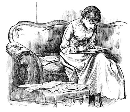 Illustration by Frank T. Merrill of Jo in the garret from Little Women by Louisa May Alcott
