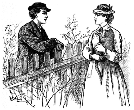 Frank T. Merrill Illustration of Laurie and Jo from Little Women by Louisa May Alcott