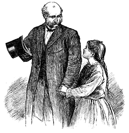 Illustration by Frank T Merrill of Mr. Laurence and Beth from Little Women by Louisa May Alcott