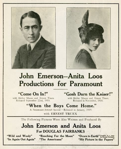 John Emerson and Anita Loos advertisement