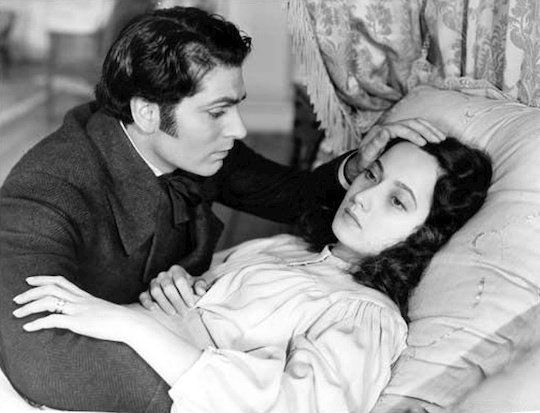 Wuthering Heights 1939 film - Heathcliff at Cathy's deathbed