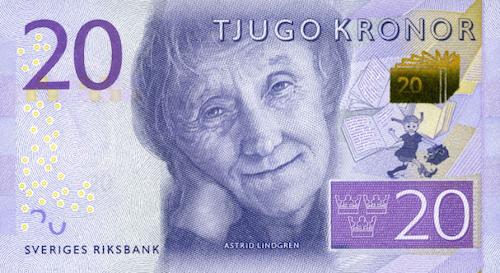 Astrid Lindgren 20 Kroner Note sweden
