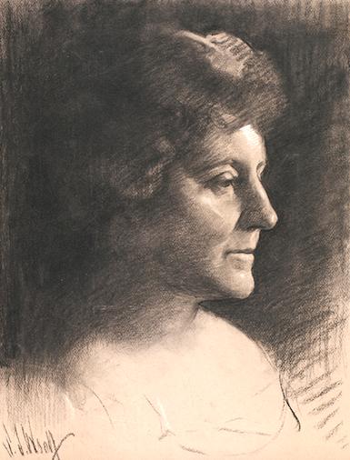 Frances Hodgson Burnett charcoal portrait by Samuel Johnson Woolf, 1924