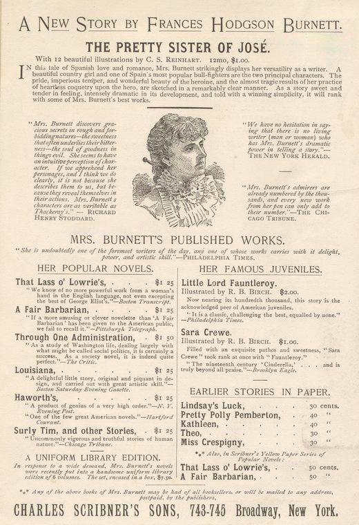 Frances Hodgson Burnett's works - vintage poster
