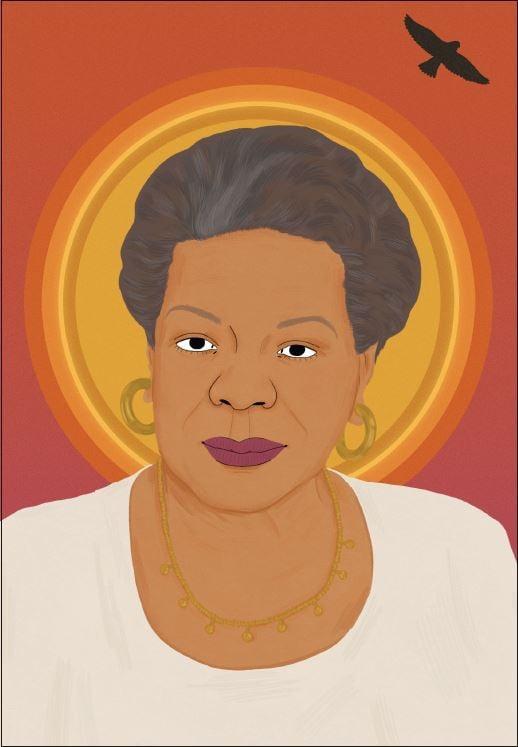 Maya Angelou portrait by Manjit Thapp