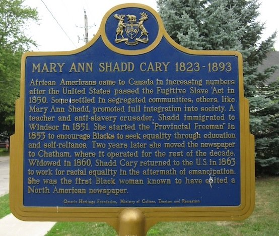 Ontario Historical Plaques- Mary Ann Shadd Cary