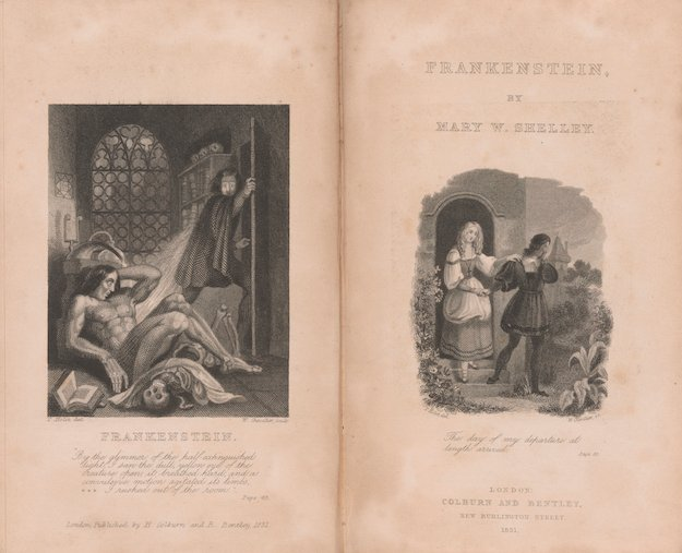 Shelley, Mary Wollstonecraft, Frankenstein: or, the modern Prometheus. London, Henry Colburn and Richard Bentley, 1831, frontispiece and title page