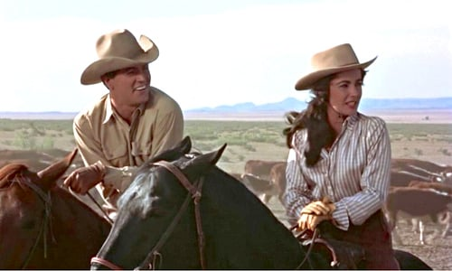 Scene from Giant, 1956 film starring Rock Hudson and Elizabeth Taylor