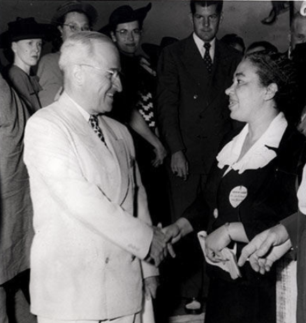 Alice Dunnigan with Harry S. Truman