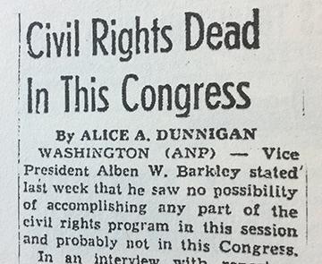Alice Dunnigan article for American Negro Press