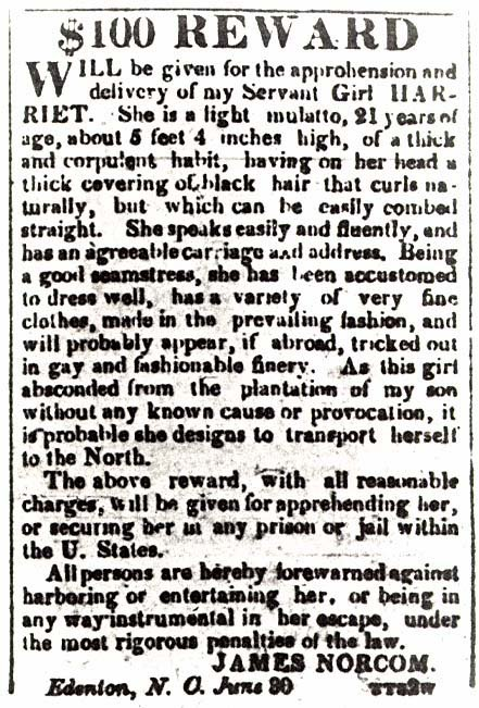 Runaway notice for Harriet Ann Jacobs